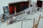 GŽrard GAROUSTE, artiste, dans son atelier de Marcilly-sur-Eure, mars 1991.